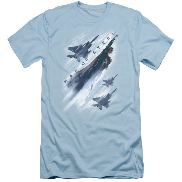 Man Of Steel/Air Superiority Short Sleeve Adult T-Shirt 30/1 in Light Blue