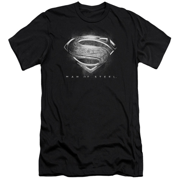 Man Of Steel/Contrast Symbol Short Sleeve Adult T-Shirt 30/1 in Black