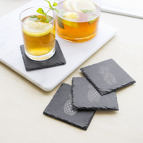 Pineapple Grey and Black Slate Coasters (Set of 4)
