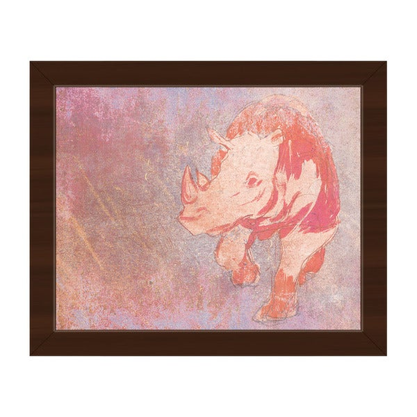 Terracotta Rhino Framed Pink/Brown Canvas Wall Art