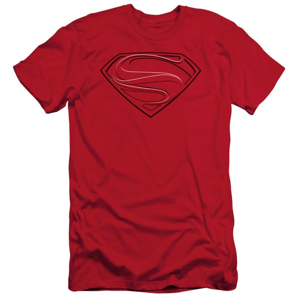 Man Of Steel/Glph Lines Short Sleeve Adult T-Shirt 30/1 in Red
