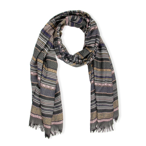 Saachi Multi Striped Black Peach Scarf (China)