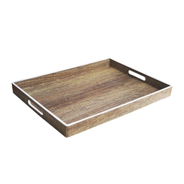 Accents by Jay White and Black Polypropylene Poplar-finish Tray with Rim