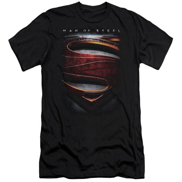 Man Of Steel/Large Shield Short Sleeve Adult T-Shirt 30/1 in Black