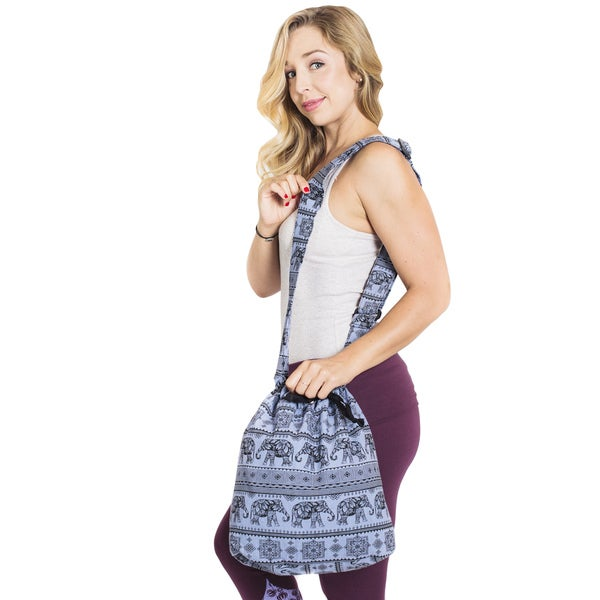Elephant March Hobo Bag with Drawstrings - Grey (Nepal)