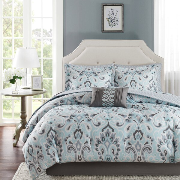 Madison Park Essentials Silvia Blue Complete Bed Set-Sheet Set Included Cal-King Size(As Is Item)