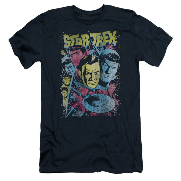 Star Trek/Classic Crew Illustrated Short Sleeve Adult T-Shirt 30/1 in Navy