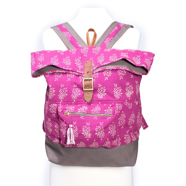 Delilah Fuchsia Batik Backpack (India)