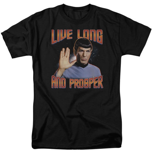 St Original/Live Long and Prosper Short Sleeve Adult T-Shirt 18/1 in Black