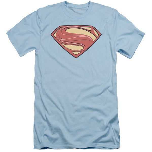 Man Of Steel/New Solid Shield Short Sleeve Adult T-Shirt 30/1 in Light Blue