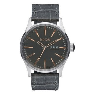 Nixon Men's A105-2145 Sentry Leather Grey Watch