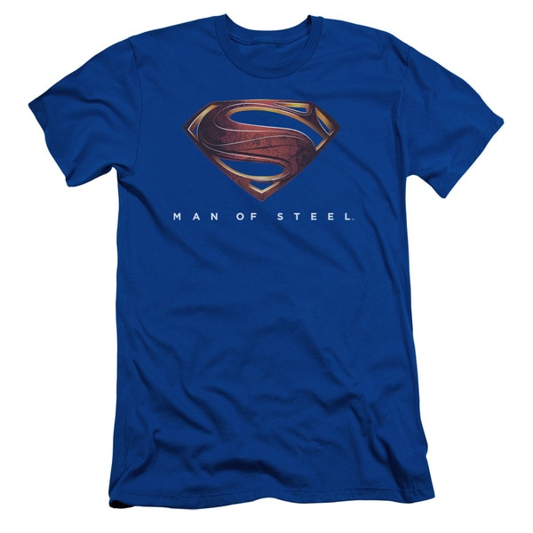 Man Of Steel/Mos New Logo Short Sleeve Adult T-Shirt 30/1 in Royal