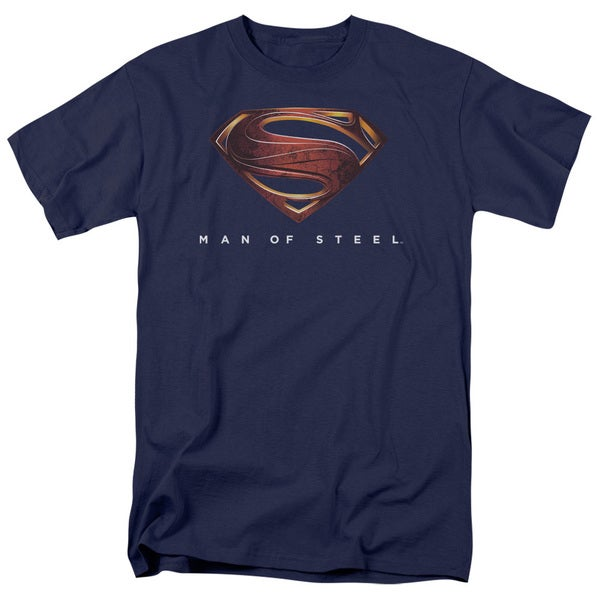 Man Of Steel/Mos New Logo Short Sleeve Adult T-Shirt 18/1 in Navy