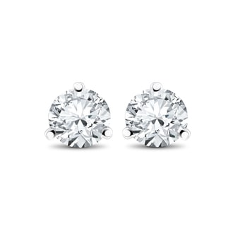 14k White, Yellow, or Rose Gold 1/4 ct TDW Diamond 3-Prong Martni Studs (F-G,SI-SI2)