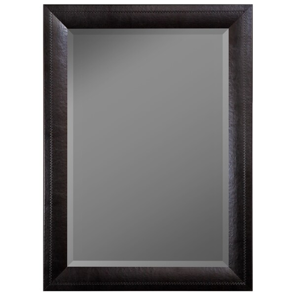 Hitchcock Butterfield Black Saddle-stitched Leather-framed Mirror 20254426