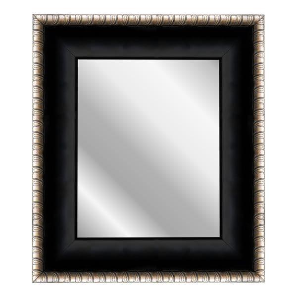 Satin Midnight Ebony Black/Silver Scrolls Mirror