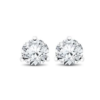 14k White, Yellow, or Rose Gold 1/3 ct TDW Diamond 3-Prong Martni Studs (F-G,SI-SI2)