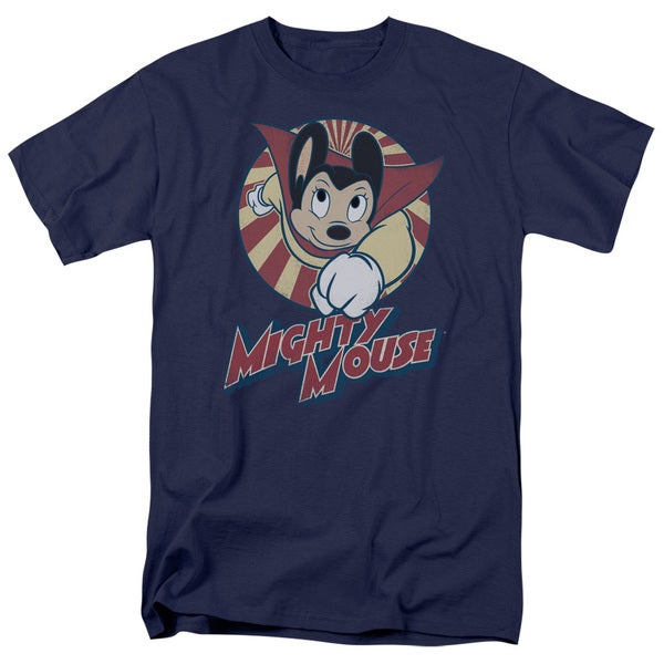 Mighty Mouse/The One The Only Short Sleeve Adult T-Shirt 18/1 in Navy