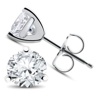 14k White, Yellow, or Rose Gold 3/8 ct TDW Diamond 3-Prong Martni Studs (F-G,SI-SI2)