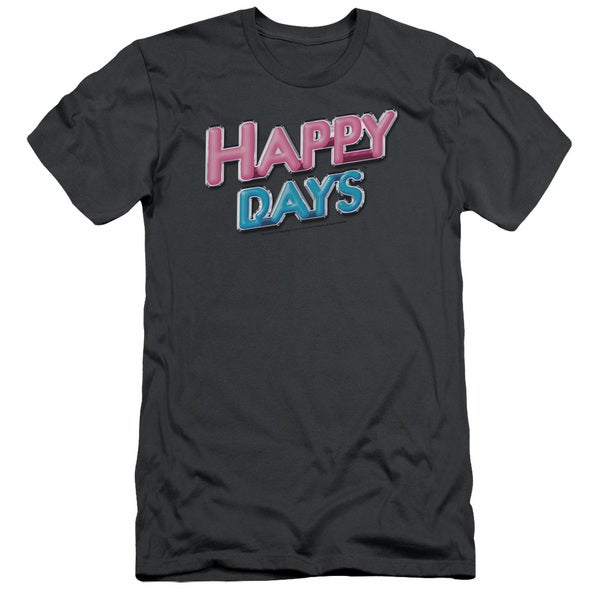 Happy Days/Happy Days Logo Short Sleeve Adult T-Shirt 30/1 in Charcoal