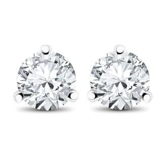 14k White, Yellow, or Rose Gold 1/2 ct TDW Diamond 3-Prong Martni Studs (F-G,SI-SI2)