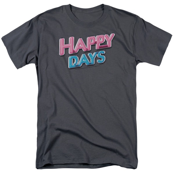 Happy Days/Happy Days Logo Short Sleeve Adult T-Shirt 18/1 in Charcoal