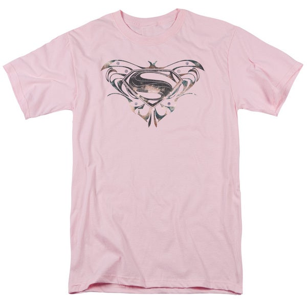 Man Of Steel/Mos Butterfly Logo Short Sleeve Adult T-Shirt 18/1 in Pink
