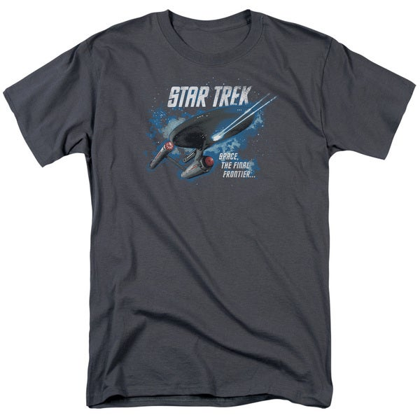 Star Trek/The Final Frontier Short Sleeve Adult T-Shirt 18/1 in Charcoal
