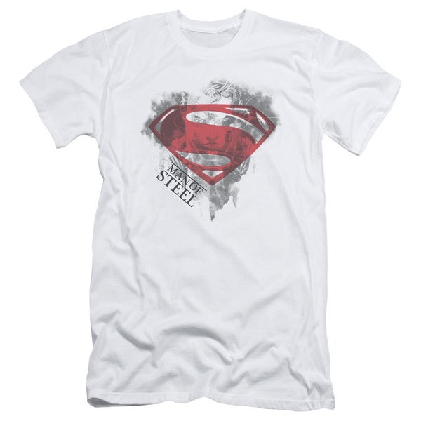 Man Of Steel/Face & Logo Short Sleeve Adult T-Shirt 30/1 in White