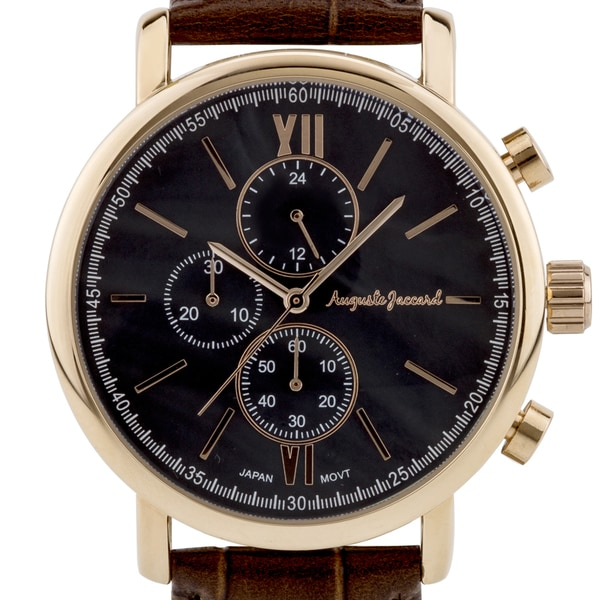 Auguste Jaccard Accordini Men's Multi-Function Watch Genuine Leather Strap