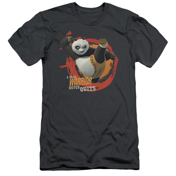 Kung Fu Panda/Real Warrior Short Sleeve Adult T-Shirt 30/1 in Charcoal