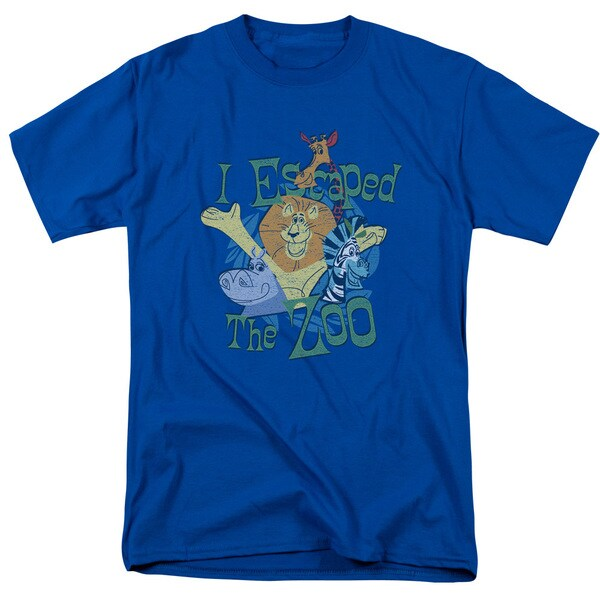 Madagascar/Escaped Short Sleeve Adult T-Shirt 18/1 in Royal Blue