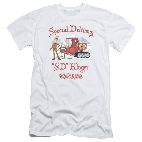 Santa Claus Is Comin To Town/Kluger Short Sleeve Adult T-Shirt 30/1 in White