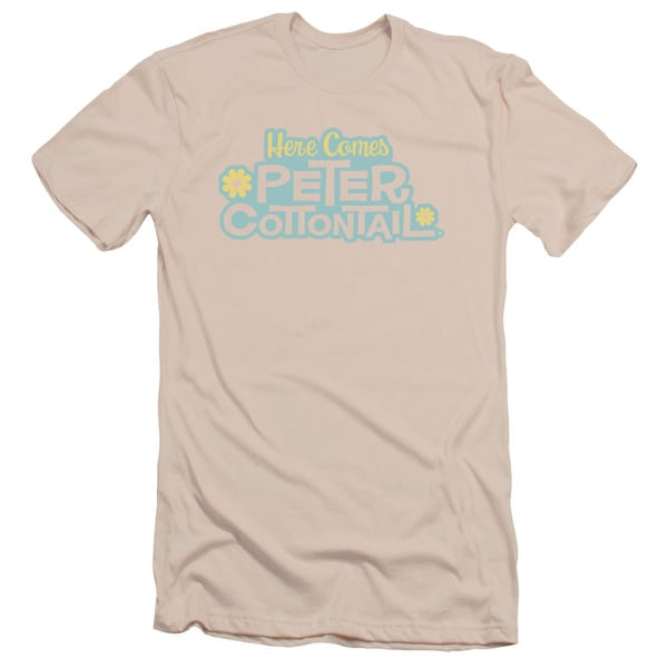 Here Comes Peter Cottontail/Logo Short Sleeve Adult T-Shirt 30/1 in Cream