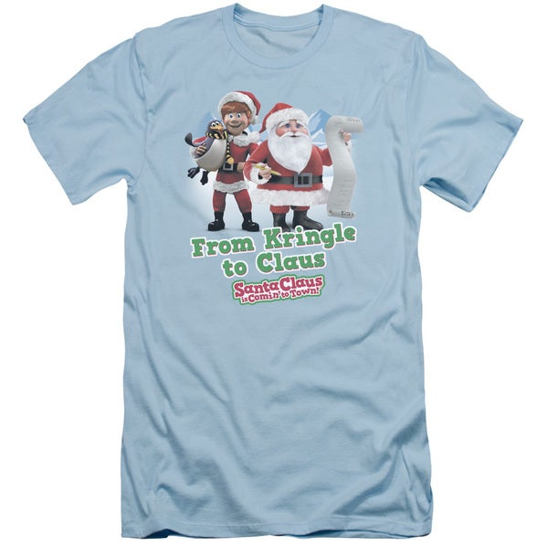 Santa Claus Is Comin To Town/Kringle To Claus Short Sleeve Adult T-Shirt 30/1 in Light Blue