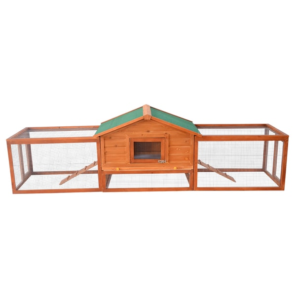 Pawhut Wooden 122-inch Rabbit Hutch with 2 Runs