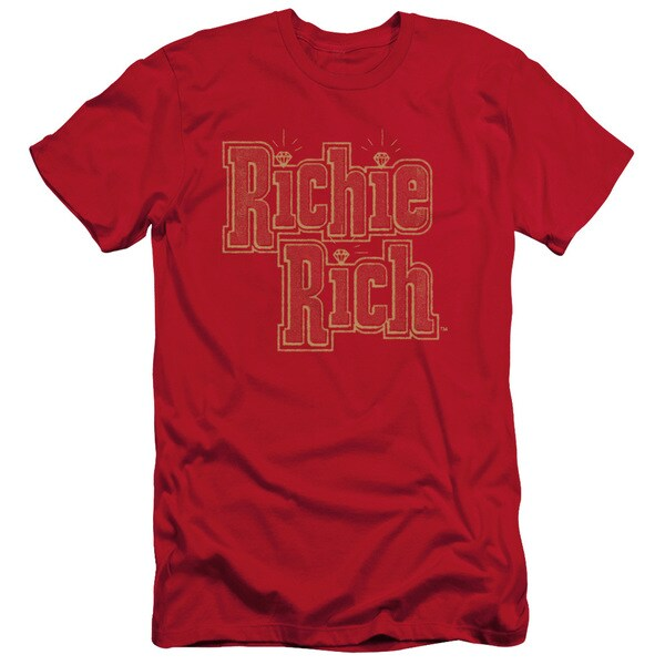 Richie Rich/Stacked Short Sleeve Adult T-Shirt 30/1 in Red