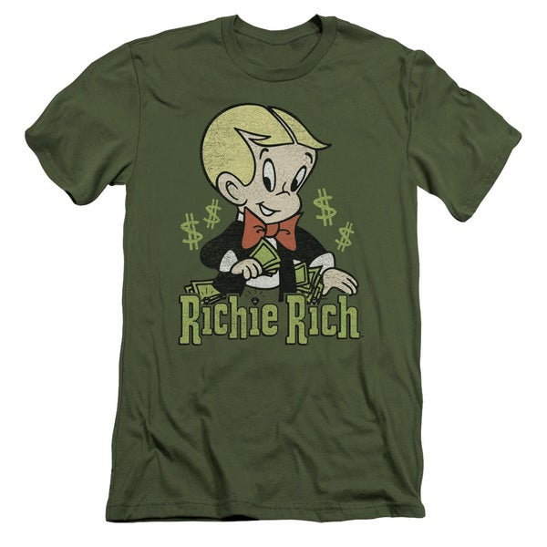 Richie Rich/Rich Logo Short Sleeve Adult T-Shirt 30/1 in Military Green