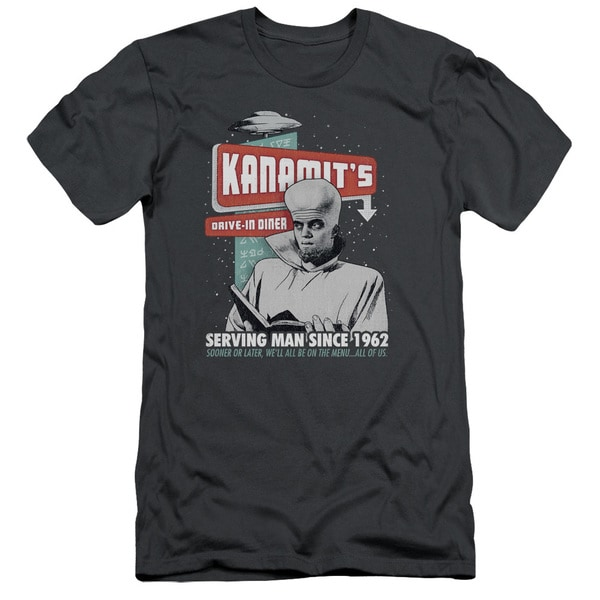 Twilight Zone/Kanamits Diner Short Sleeve Adult T-Shirt 30/1 in Charcoal