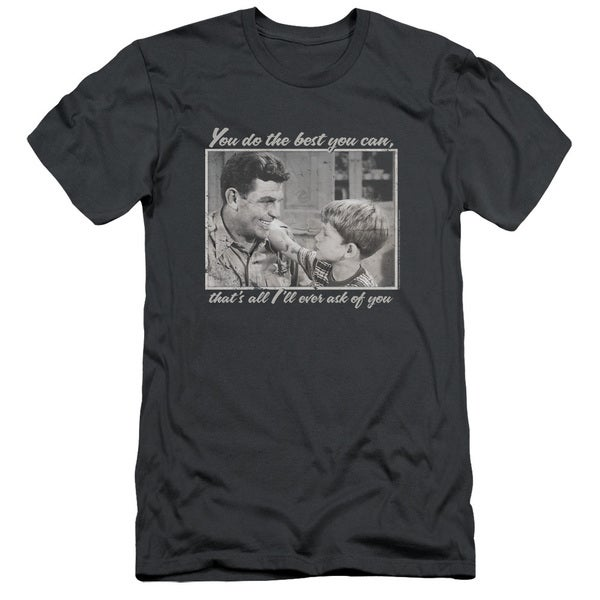 Andy Griffith/Wise Words Short Sleeve Adult T-Shirt 30/1 in Charcoal