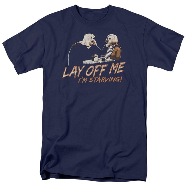 SNL/Lay Off Me Short Sleeve Adult T-Shirt 18/1 in Navy
