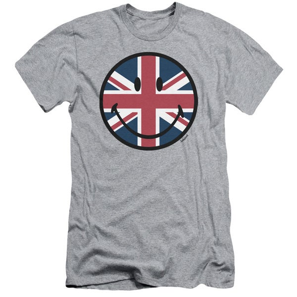 Smiley World/Union Jack Face Short Sleeve Adult T-Shirt 30/1 in Heather