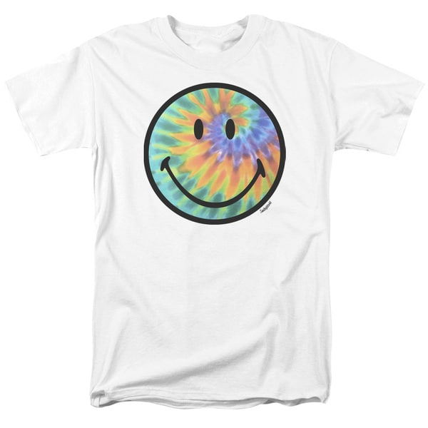 Smiley World/Tie Dye Face Short Sleeve Adult T-Shirt 18/1 in White