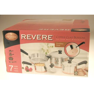 Revere 1042262 Stainless Steel Copper-Clad Bottom 7 Piece Set