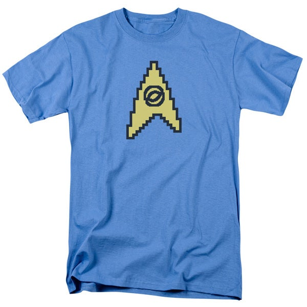 Star Trek/8 Bit Science Short Sleeve Adult T-Shirt 18/1 in Carolina Blue