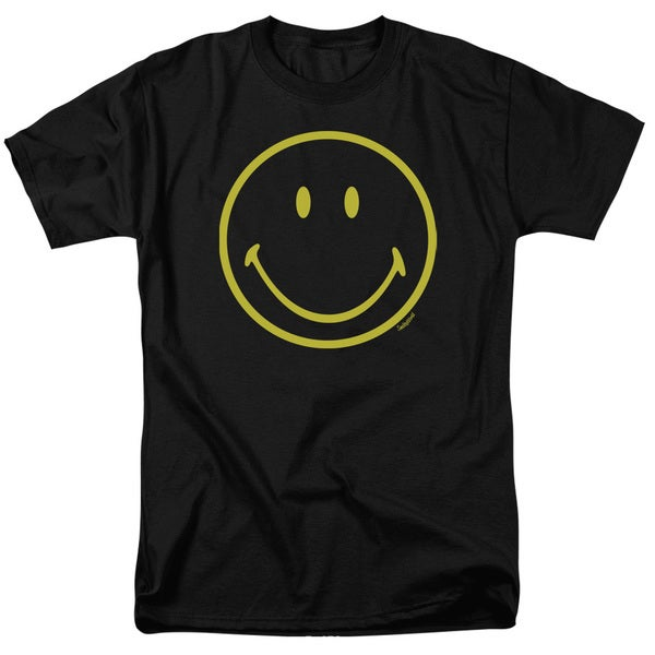 Smiley World/Yellow Line Smiley Short Sleeve Adult T-Shirt 18/1 in Black