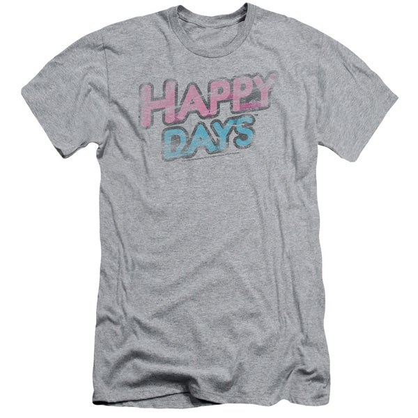 Happy Days/Distressed Short Sleeve Adult T-Shirt 30/1 in Heather