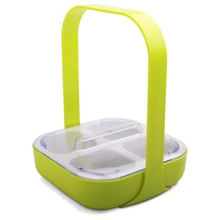 Zak Designs 2110-P870 4 Section Square Kiwi Condiment Caddy With Lid & Handle