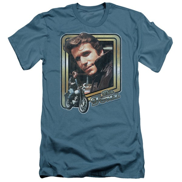 Happy Days/The Fonz Short Sleeve Adult T-Shirt 30/1 in Slate