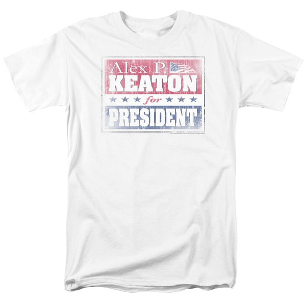 Family Ties/Alex For President Short Sleeve Adult T-Shirt 18/1 in White